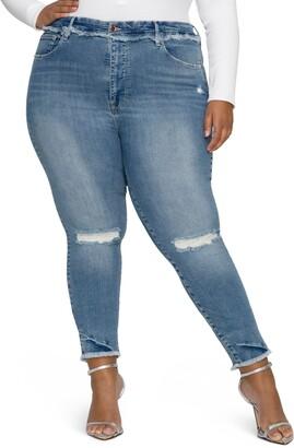 Good American Good Legs Distressed High Waist Frayed Skinny Jeans