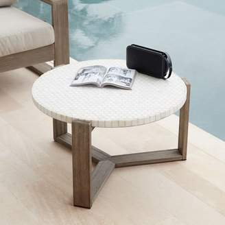 west elm Mosaic Tiled Outdoor Coffee Table - White Marble/Weathered Wood