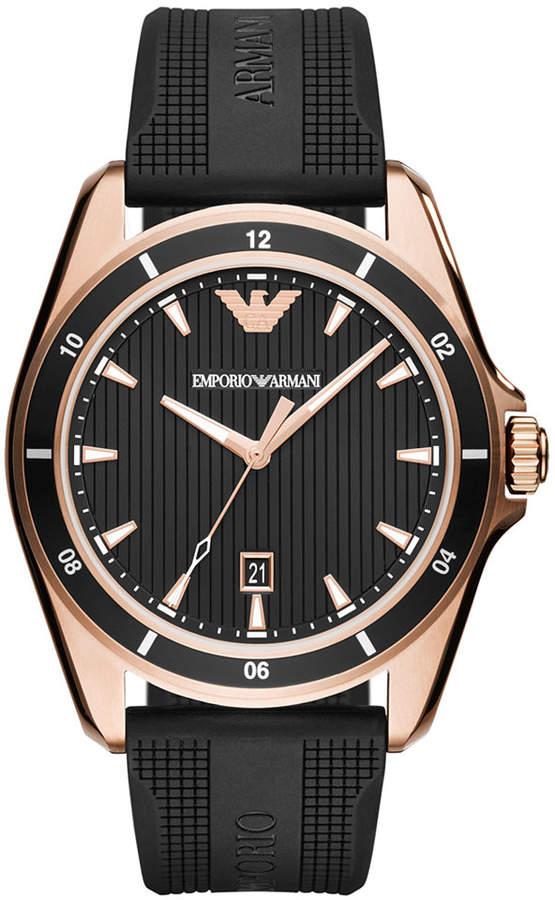 Emporio Armani Men's Black Rubber Strap Watch 44mm