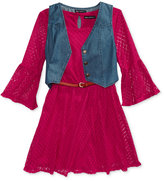 Sequin Hearts 2-Pc. Denim Vest and Lace Dress Set, Big Girls (7-16)