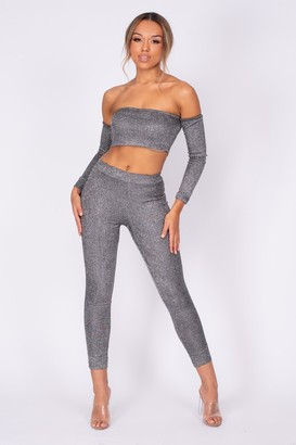 Nazz Collection Havana Black Silver Metallic Glitter Two Piece Leggings Co-ord Set