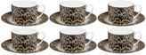 Roberto Cavalli Jaguar Teacups & Saucers - Set of 6