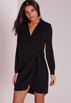 Missguided Crepe Wrap Shirt Dress Black