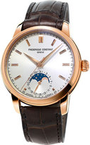 Frederique Constant Fc715v4h4 Moonphase Rose Gold-plated And Leather Watch