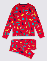Marks and Spencer Cotton Dinosaur Print Pyjamas with Stretch (1-16 Years)