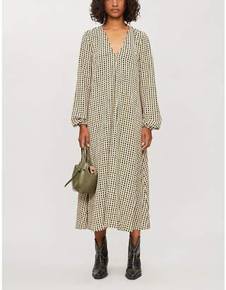 Stine Goya Brooklyn gingham-print oversized stretch-crepe midi dress