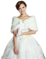 LuYan Women's Wedding Bridal Faux Fur Lace Edge Ribbon Closure Fluffy Shrug