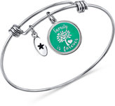 "Unwritten Family is Forever"" Green Disc Bangle Bracelet in Stainless Steel and Silver-Plate"