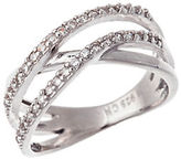 Lord & Taylor Sterling Silver and Cubic Zirconia Crossing Band Ring