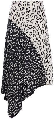 A.L.C. Asymmetric Leopard-print Silk Crepe De Chine Skirt