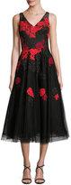 Rickie Freeman For Teri Jon Sleeveless Floral Tulle Tea-Length Dress, Black