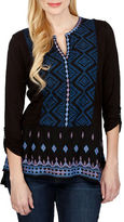 Lucky Brand Long Sleeve Embroidered Bib Top