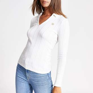 River Island Womens Cream long sleeve ribbed collar fitted top