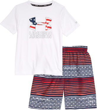 Under Armour Freedom Gradient Stripe Rashguard & Swim Trunks Set