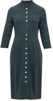 Goat Juliette Buttoned Wool-crepe Dress - Womens - Dark Green