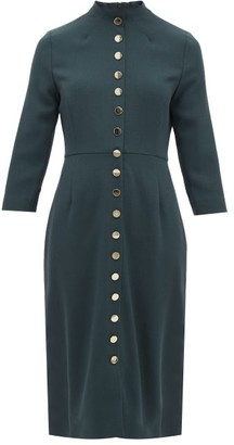 Goat Juliette Buttoned Wool-crepe Dress - Womens - Dark Green