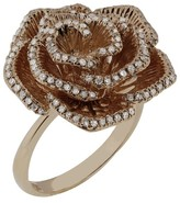 Effy Jewelry Nature 14K Rose Gold Diamond Flower Ring, .50 TCW