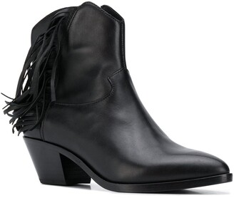 Ash Tassel Pointed Ankle Boots