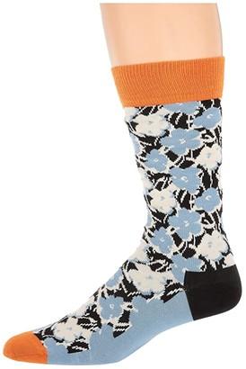 Happy Socks Andy Warhol Flower Sock (Blue Multi) Men's Crew Cut Socks Shoes