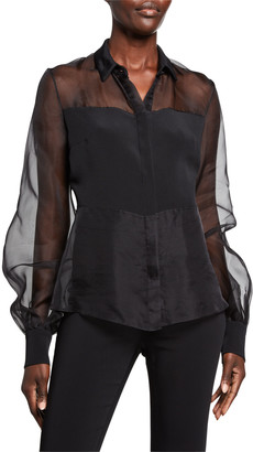Cushnie Sheer Silk Button-Front Blouse