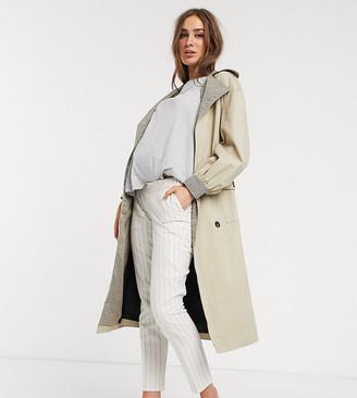 ASOS DESIGN Maternity ultimate linen cigarette under bump pants in stripe