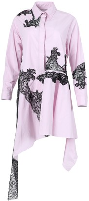 Marques Almeida Lace Insert Asymmetric Shirt Dress Pink