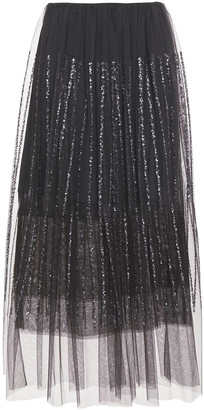 Brunello Cucinelli Layered Sequin-embellished Tulle Midi Skirt