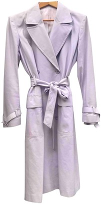 Saint Laurent Purple Leather Trench Coat for Women Vintage