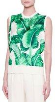 Dolce & Gabbana Jewel-Neck Banana Leaf-Print Shell, White/Green