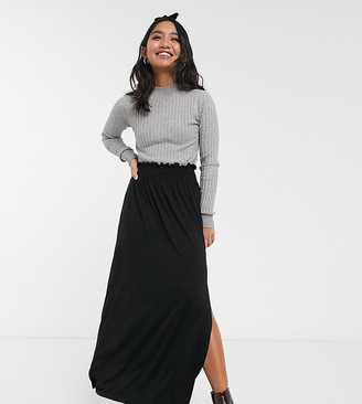 Asos DESIGN Petite shirred waist maxi skirt-Black