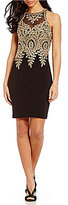 Xscape Evenings Embroidered Lace Mesh Top Sheath Dress