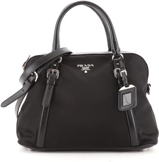 Prada Convertible Dome Satchel Tessuto with Saffiano Leather Large