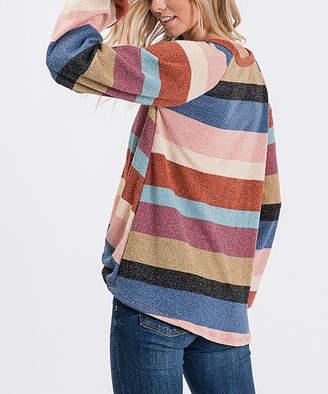 Blush B-Lush Love, Kuza Women's Tunics Blush - Blush & Navy Stripe Knot-Front Tunic - Women