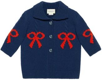 Gucci Baby wool bow jacquard coat