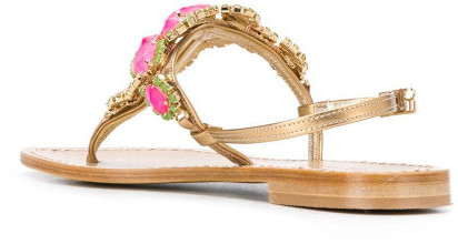 Thumbnail for your product : Emanuela Caruso Leather Thong Sandals