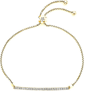 Suzy Levian 14K 0.55 Ct. Tw. Diamond Bolo Adjustable Bracelet