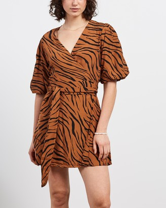 Faithfull The Brand Women's Brown Mini Dresses - Marissa Wrap Dress - Size XS at The Iconic