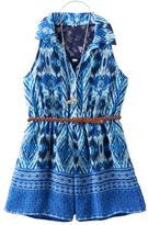 Knitworks Girls 7-16 Lace Back Patterned Belted Romper with Necklace