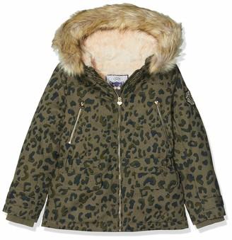 Ikks Junior Girl's Parka Kaki Imprimee Leopard Raincoat