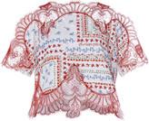 Costarellos Printed Cotton Gossamer Lace Crop Top