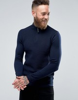 Ted Baker Textured Knitted Sweater With Zip Neck