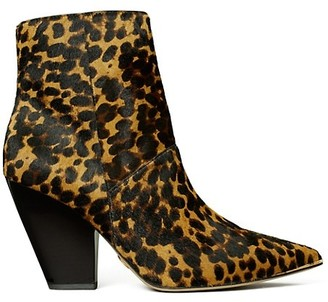 Tory Burch Lila Leopard-Print Calf Hair Ankle Boots