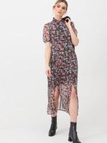 Very Georgette Twist Neck Midi Dress - Floral