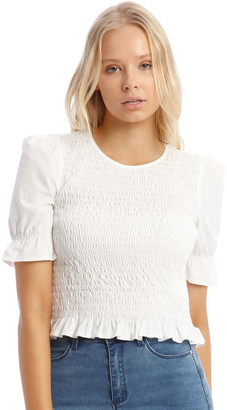 Missguided Poplin Shirred Puff Sleeve Top