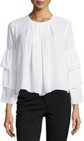 Neiman Marcus 3-Tier-Sleeve Blouse, White