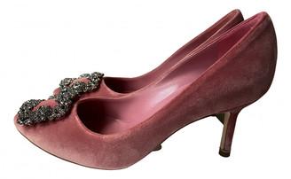 Manolo Blahnik Hangisi Pink Velvet Heels
