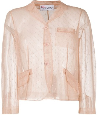 RED Valentino Point D'esprit Cropped Blazer