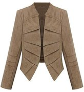 SODIAL(R) Women's Suede Leather Jacket Short Blazer Coat S