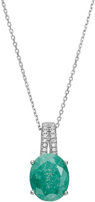Sterling Silver Ice Cubic Zirconia Oval Pendant Necklace