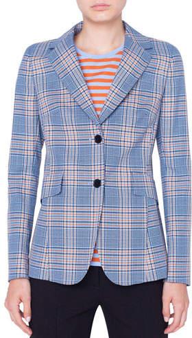 Akris Punto Plaid Two-Button Blazer Jacket